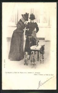 AK Majestee La Reine des Belges et la Comtesse d'Oultremont mit Hunden