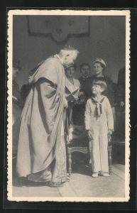 AK S. E. le Cardinal Van Roey et le Prince Baudouin von Belgien