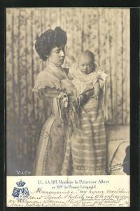 AK Madame la Princesse Albert et le Prince Leopold von Belgien als Baby