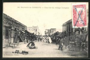 AK Djibouti, Une rue du village indigène, Ortspartie