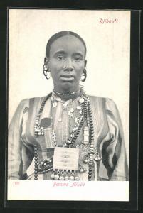 AK Djibouti, Femme Arabe, Junge Frau mit Schmuck