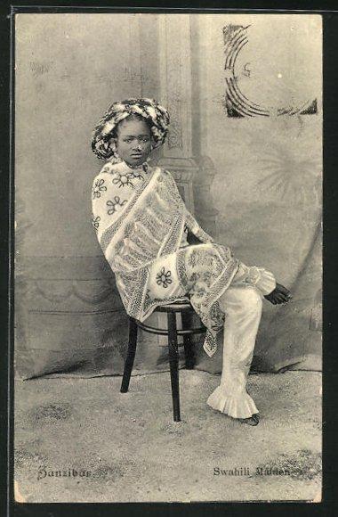 AK Zanzibar, Swahili Maiden, junge Frau in Tracht 0