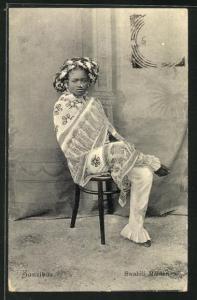 AK Zanzibar, Swahili Maiden, junge Frau in Tracht