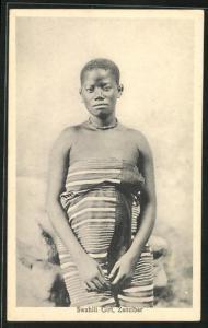 AK Zanzibar, Swahili Girl, junge Frau mit kurzem Haar