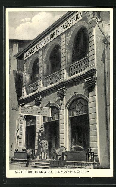AK Zanzibar, Moloo Brothers & Co., Silk, Ivory and Curio, Reklame für Kuriositäten- und Seidenhändler 0