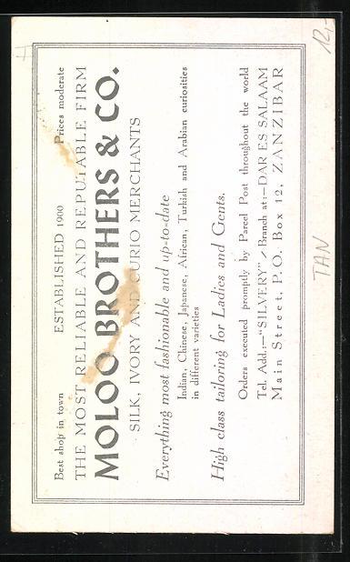 AK Zanzibar, Moloo Brothers & Co., Silk, Ivory and Curio, Reklame für Kuriositäten- und Seidenhändler 1