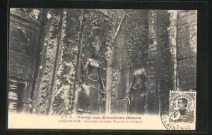 AK Angkor-Wat, Bas-reliefs d`une des Tours de la 2e Galerie