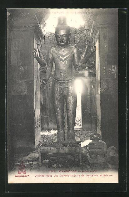 AK Angkor-Vat, Divinite dans une Galerie laterale de l`enceinte exterieure 0