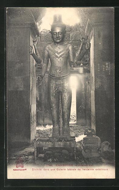 AK Ankor-Vat, Davinité dans une Galerie latérale..., Buddhafigur 0