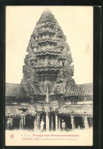 AK Angkor-Wat, La Tour médiane..., Turmbau