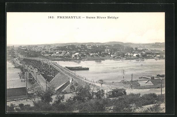 AK Fremantle, Swan River Bridge, Partie mit Strassenbahn 0
