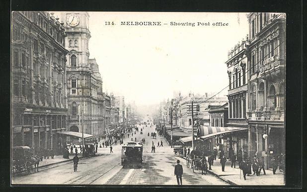 AK Melbourne, Showing Post Office, Strassenbahn und Metropole Hotel 0