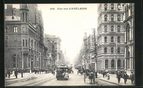AK Melbourne, Strassenpartie Adelaide mit Tram 0