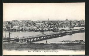 AK Sydney, Pyrmont Bridge, Panorama der Brücke
