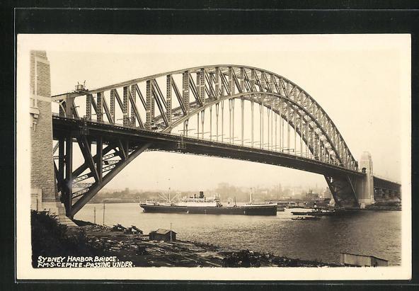 Foto-AK Sydney, Harbour Bridge, Partie mit M/S Cêphée 0