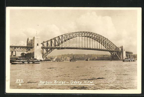 Foto-AK Sydney, Harbour Bridge, Totale der Brücke 0