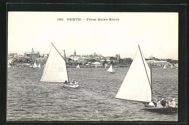 AK Perth, From Swan River, Partie mit Segelbooten 0