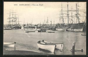 AK Adélaide, Vue du Port, Segelschiffe im Hafen