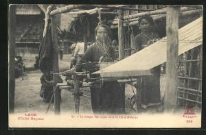 AK Laos, Le tissage des jupes dans le Haut-Mekong