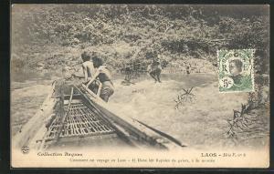 AK Laos, Comment on voyage au Laos, Dans les Rapides de galets, a la montee