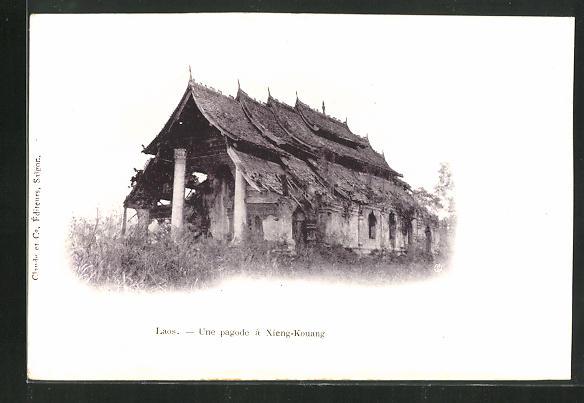 AK Laos, Xieng-Kouang, Une pagode 0