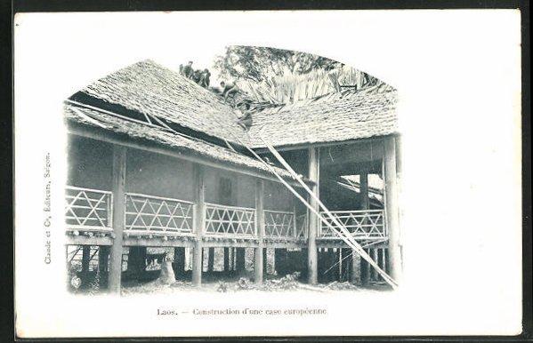 AK Laos, Construction d`une case europeenne 0