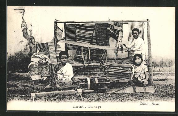 AK Laos, Tissage, Weberinnen bei der Arbeit 0