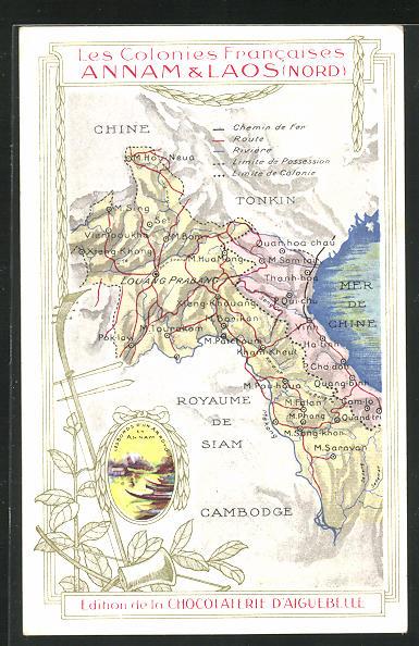 AK Laos, Landkarte der ehemaligen französischen Kolonien Annam und Laos 0