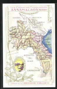 AK Laos, Landkarte der ehemaligen französischen Kolonien Annam und Laos