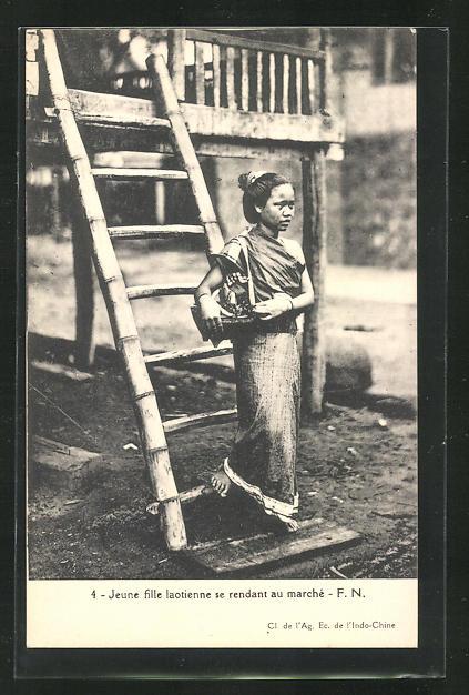 AK Laos, Jeune fille laotienne se rendant au marché 0