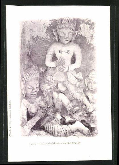 AK Laos, Haut-relief d`une ancienne pagode 0