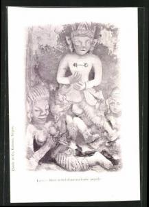 AK Laos, Haut-relief d`une ancienne pagode