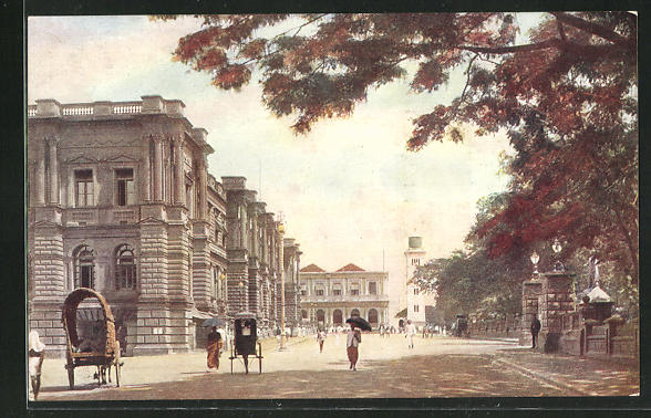 AK Colombo, General Post Office, Entrance to Queen`s House and Clock Tower 0