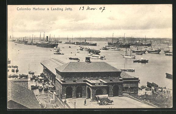 AK Colombo, Harbour & Landing Jetty, Blick auf Segel- und Dampferschiffe 0