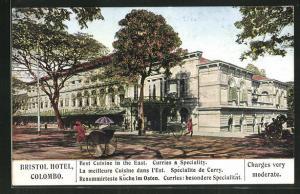 AK Colombo, Bristol Hotel, Eckfassade mit Haupteingang, Rikschas