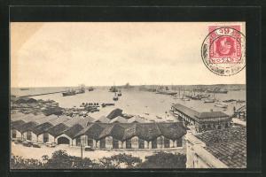 AK Colombo, Harbour and Jetty, Blick über Hafenanlage und aufs Meer