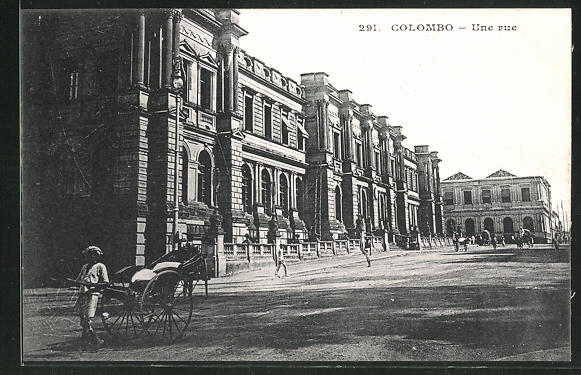 AK Colombo, Une rue, Fassadenansicht, Rikscha 0