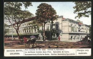 AK Colombo, Bristol Hotel, Eingangsfassade mit Rikschas
