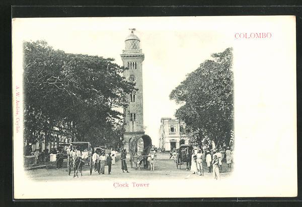 AK Colombo, Clock Tower und Händler in Strasse 0
