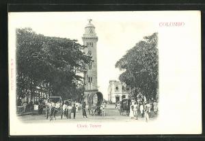 AK Colombo, Clock Tower und Händler in Strasse