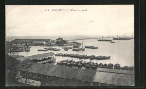 AK Colombo, Vue du port, Blick über Hafenanlage und Schiffe auf dem Meer