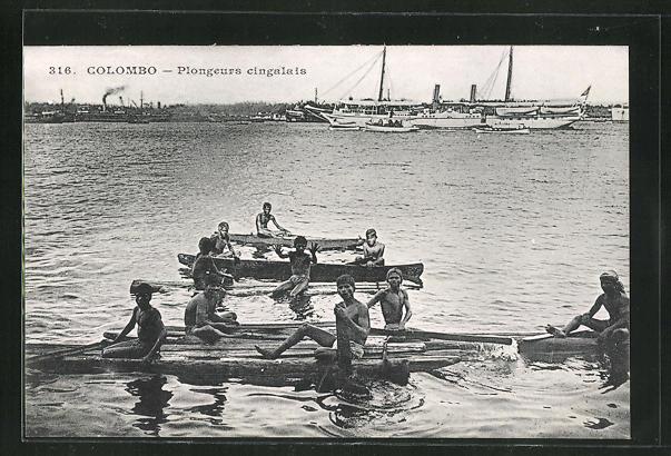 AK Colombo, Plongeurs cingalais, Taucher auf Floss 0