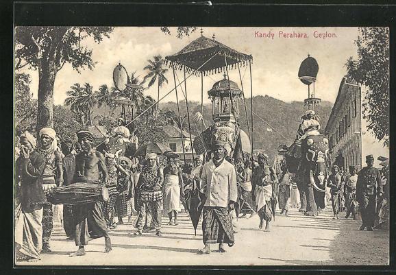 AK Kandy, Perahara, geschmückte Elefanten in Prozession 0
