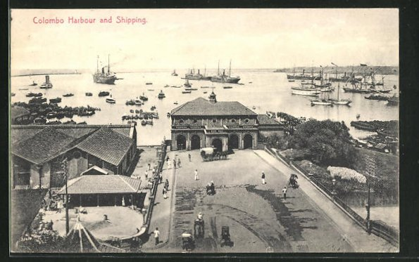 AK Colombo, Harbour and Shipping, Blick auf das Meer mit Segelschiffen 0