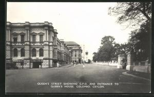 AK Colombo, Queen`s Street showing G.P.O. and Entrance to Queen`s House