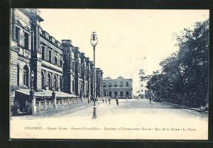 AK Colombo, General Post Office, Gardens of Government House, Rue de la Reine, La Poste