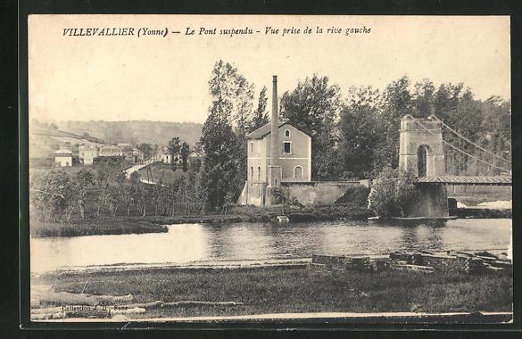 AK Villevallier, Le Pont suspendu, Vue prise de la rive gauche 0