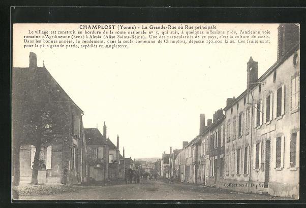 AK Champlost, La Grande-Rue ou Rue principale, Strassenpartie 0