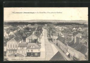 AK Villeneuve-l`Archeveque, La Grand`Rue, Strassenpartie