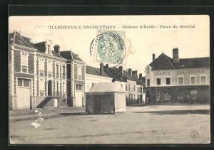 AK Villeneuve-l`Archeveque, Maison d`Ecole, Place du Marche